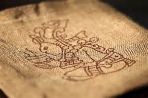 Aztec-stamp-on-burlap-sack-Mexico