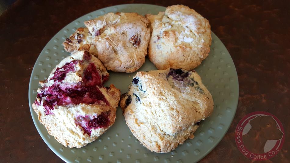 Freshly bakes scones from Brown Dog Coffee Buena Vista and Salida Colorado